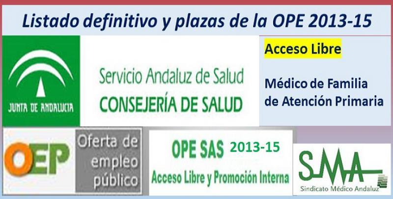 Publicadas las listas definitivas y plazas fijas de la OPE 2013-15 de Médico de Familia de Atención Primaria, acceso libre.