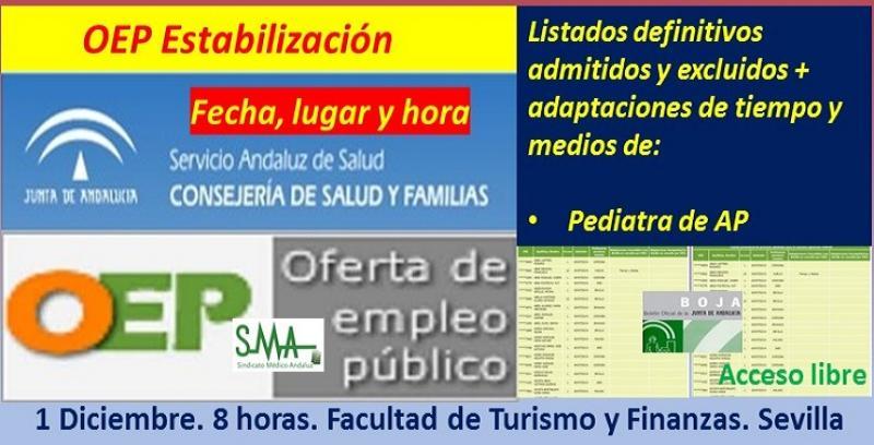 Publicados en BOJA los listados definitivos de admitidos, adaptaciones, fecha y lugar de celebración de los exámenes de la OEP de Estabilización de Pediatra de Atención Primaria.