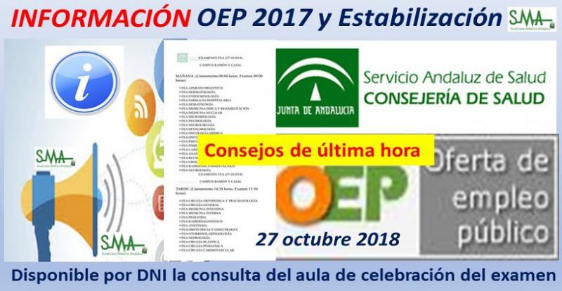 Algunos consejos para la OPE. Disponible la consulta del aula de celebración del examen en la web del SAS  solo por DNI.