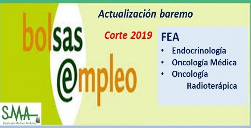 Bolsa. Publicación de listas de aspirantes con actualización del baremo de méritos (corte 2019) de FEA de Endocrinología, Oncología Médica y Oncología Radioterápica.