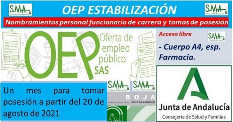 OEP Estabilización. Nuevo nombramiento de personal funcionario de carrera y toma de posesión del Cuerpo A4, especialidad Farmacia.