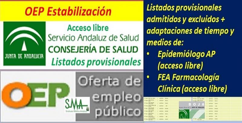 Publicados los listados provisionales de admitidos y excluidos en la OEP de Estabilización de Epidemiólogo de AP y FEA de Farmacología Clínica.