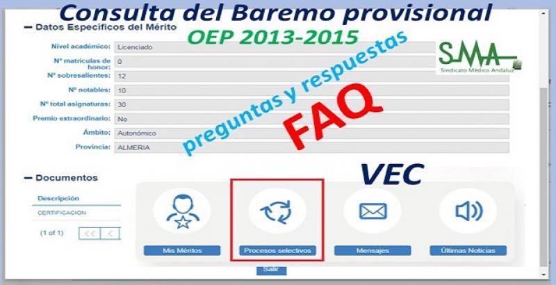 Preguntas y respuestas en relación a la consulta del Baremo provisional. OEP 2013-2015.