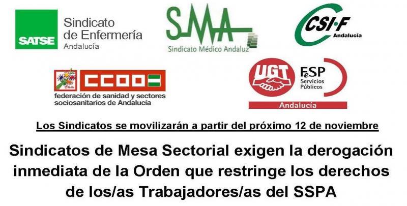 Sindicatos de Mesa Sectorial exigen la derogación inmediata de la Orden que restringe los derechos de los/as Trabajadores/as del SSPA.