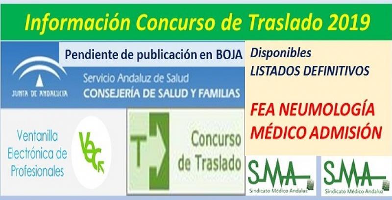 Publicadas en la web del SAS, propuestas de listados definitivos de los Concursos de Traslados de FEA Neumología y Médico de Admisión.