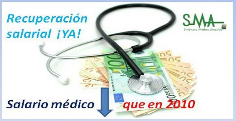 El 'BOE' publica la subida salarial del 2,25%, pero el salario base del médico sigue por debajo de lo que cobraba en 2010.