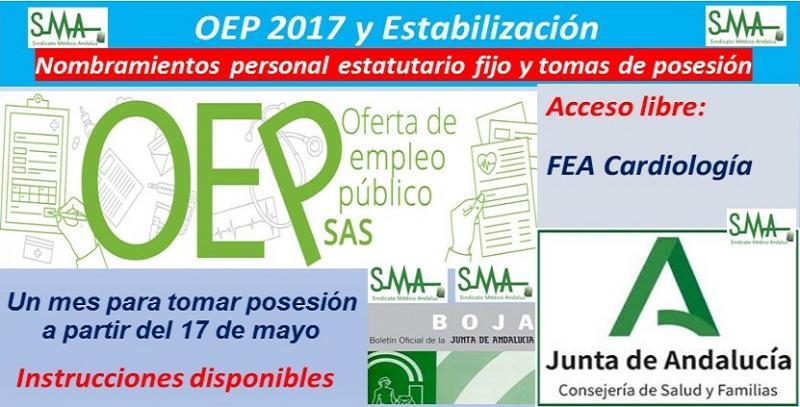 Publicados en el BOJA los nombramientos de personal estatutario fijo y toma de posesión, de FEA de Cardiología (OEP 2017 y Estabilización).