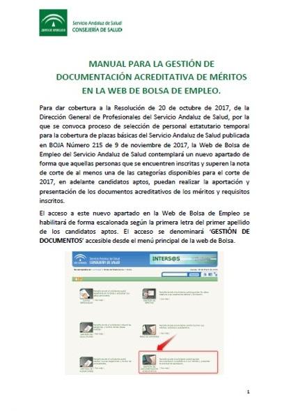 Manual para la gestión de documentación acreditativa de méritos en la web de Bolsa de Empleo del SAS.