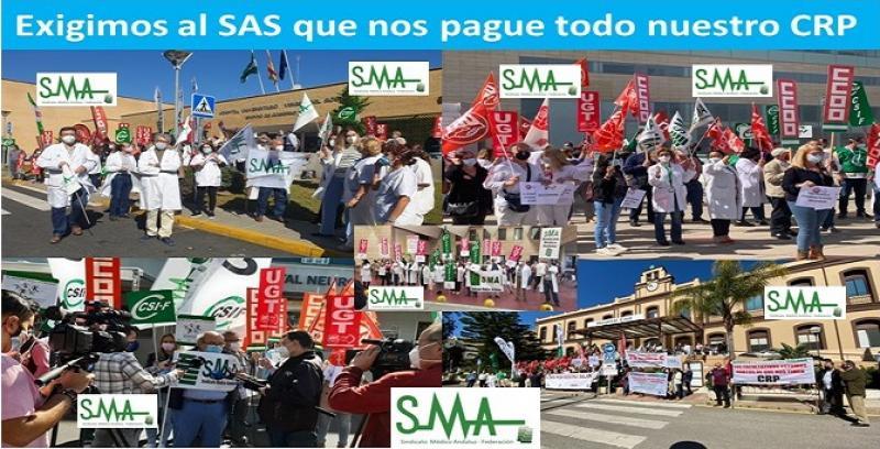 Concentraciones en distintos centros sanitarios de Andalucía para exigir el pago del 100% del CRP.
