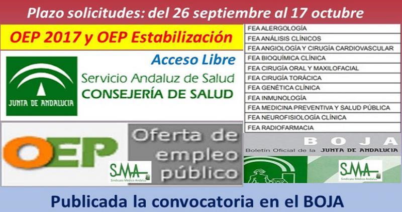 Publicada en el Boja la convocatoria de OEP 2017 y OEP estabilización, acceso libre, de varias especialidades FEA.