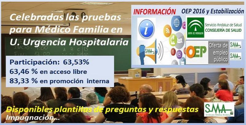 OEP 2016 y estabilización. MF en Unidades de Urgencia Hospitalaria. Cuadernillo de examen, plantilla de respuestas, alegaciones, certificado de asistencia y aplazamiento debido a parto.