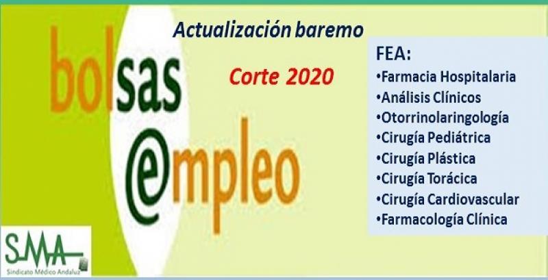 Bolsa. Publicación de listas de aspirantes con actualización del baremo de méritos (corte 2020) de varias especialidades de FEA.