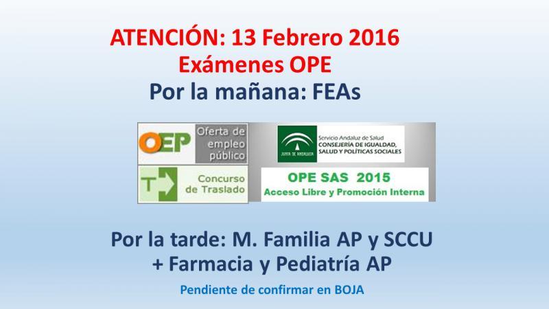 FECHAS DE EXÁMENES DE LA OPE PARA FACULTATIVOS: 13 de Febrero 2016 (pendiente de Boja)