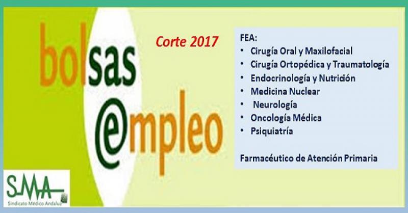 Bolsa. Publicación de listas de aspirantes con actualización del baremo de méritos (corte 2017) de diferentes especialidades de FEA y Farmacéutico de AP.