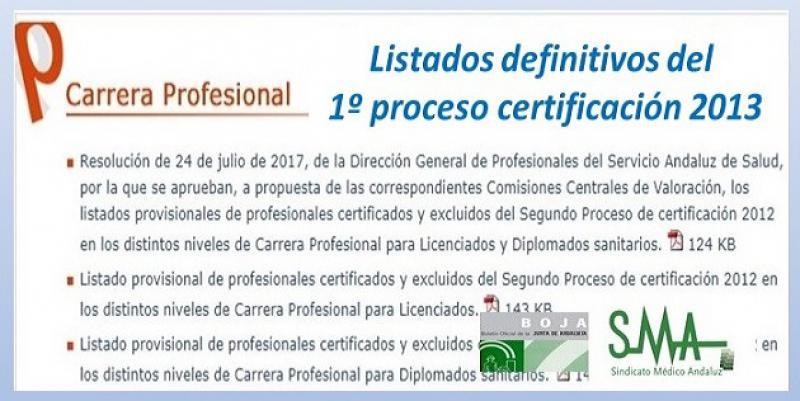 Publicado en el Boja la Resolución aprobando los listados definitivos de Carrera Profesional en el SAS, 1º proceso certificación 2013.