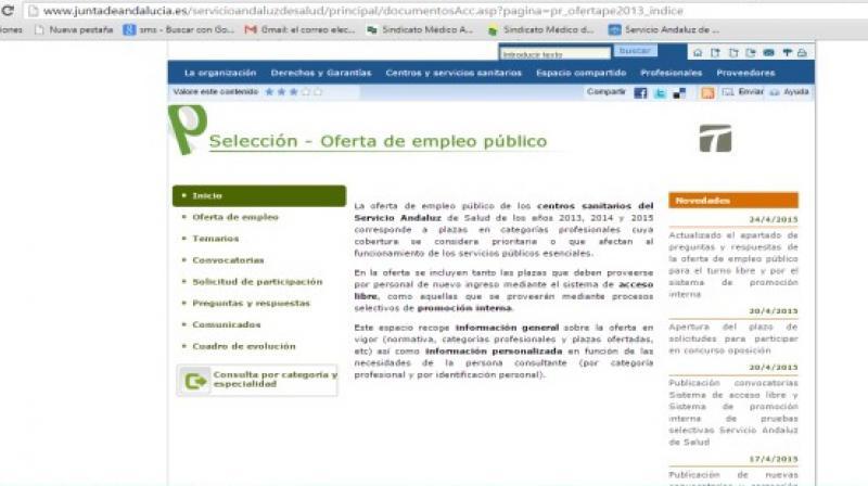 Resumen informativo sobre OPE 2015