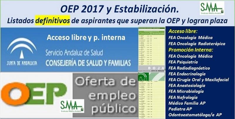 OEP 2017-Estabilización. Listados definitivos de personas aspirantes que superan el concurso-oposición y logran plaza, de diferentes especialidades (acceso libre y promoción interna).
