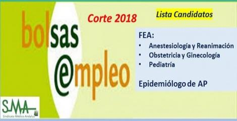 Bolsa. Listas definitivas de candidatos (corte 2018) de FEA de Anestesia, Ginecología y Pediatría y de Epidemiólogo de AP.