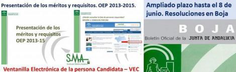 Boja: Resoluciones que amplían el plazo para presentar documentación en la VEC para la OPE 2013-15.