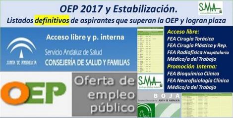 OEP 2017-Estabilización. Listados definitivos de personas aspirantes que superan el concurso-oposición y logran plaza, de diferentes categorías y especialidades (acceso libre y promoción interna).