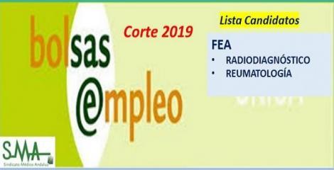 Bolsa. Listas definitivas de candidatos (corte 2019) de FEA de Radiodiagnóstico y Reumatología.