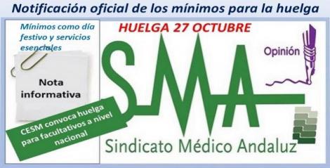 Orden de la Consejería de Salud que regula los servicios mínimos para la huelga convocada por CESM para mañana 27 de octubre.