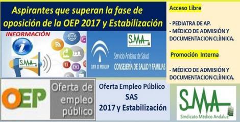 OEP 2017-Estabilización. Listado de aspirantes que superan la fase de oposición de las pruebas selectivas de Pediatra AP (acceso libre) y Médico/a de Admisión (acceso libre y promoción interna).