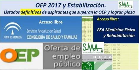 OEP 2017-Estabilización. Listados definitivos de personas aspirantes que superan el concurso-oposición y logran plaza, de FEA Rehabilitación, acceso libre.