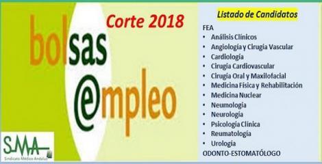 Bolsa. Publicación del listado definitivo de candidatos (corte 2018) de diferentes especialidades de FEA y de Odonto-Estomatólogo.