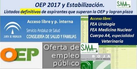 OEP 2017-Estabilización. Listados definitivos de personas aspirantes que superan el concurso-oposición y logran plaza de FEA de Urología, Medicina Nuclear y Cuerpo A4, esp. Veterinaria, acceso libre.