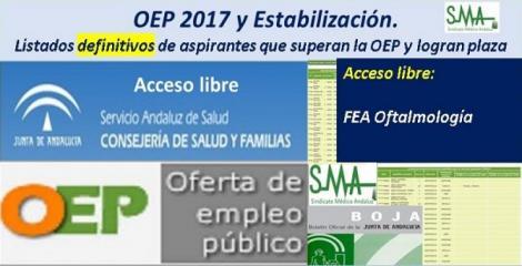 OEP 2017-Estabilización. Listados definitivos de personas aspirantes que superan el concurso-oposición y logran plaza, de  FEA de Oftalmología, acceso libre.