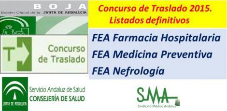 Publicado en Boja la Resolución con los listados definitivos del C. de Traslado de FEA: Farmacia Hospitalaria, Medicina Preventiva y Nefrología.