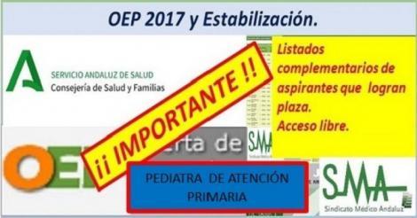 Nuevo nombramiento de la OEP 16-17-Estabilización de las plazas no cubiertas de Pediatra de Atención Primaria.
