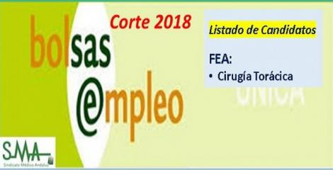 Bolsa. Publicación del listado definitivo de candidatos (corte 2018) de FEA de Cirugía Torácica.