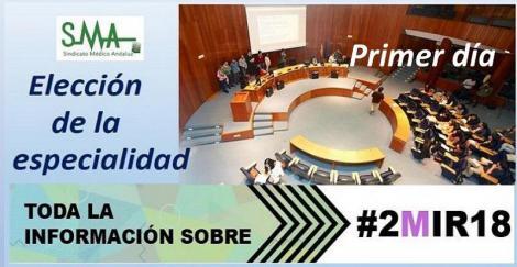 Distribución de plazas MIR año 2018 adjudicadas el primer día de elección.