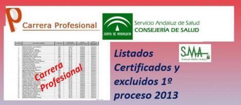 Carrera Profesional: Listados provisionales de profesionales certificados y excluidos del Primer Proceso de certificación de 2013.