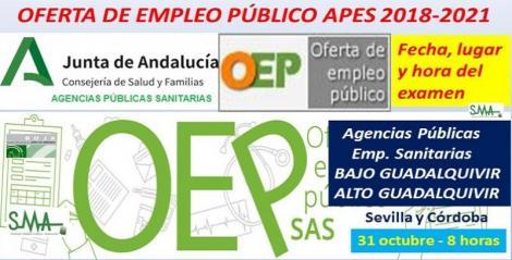 Publicado el lugar, fecha y hora de los exámenes de la OEP 2018-2021 convocados por las APES Bajo Guadalquivir y Alto Guadalquivir para distintas especialidades de FEA, acceso libre.
