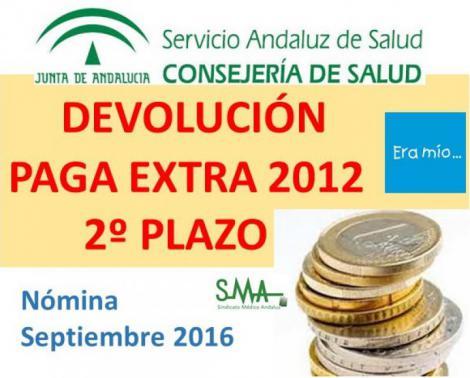 El SAS debe pagar con la nomina de septiembre la segunda parte (26%) de la extra del 2012.