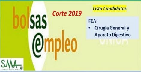 Bolsa. Publicación del listado definitivo de candidatos (corte 2019) de FEA de Cirugía General.