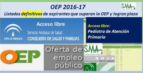 OEP 2016-17. Listados definitivos de personas aspirantes que superan el concurso-oposición y logran plaza, de  Pediatra de Atención Primaria,  acceso libre.