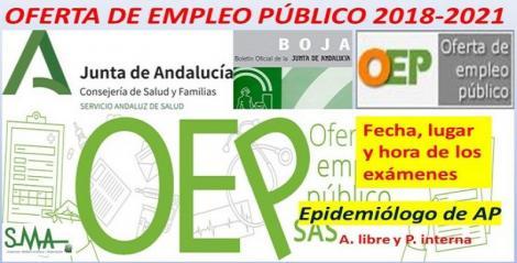 Publicados en BOJA fecha, lugar y hora de celebración de los exámenes de la OEP 2018-2021 de Epidemiólogo de Atención Primaria.
