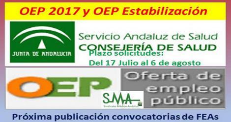 Próxima publicación en Boja de las convocatorias de varias especialidades de FEAs para la OEP 2017-Estabilización.