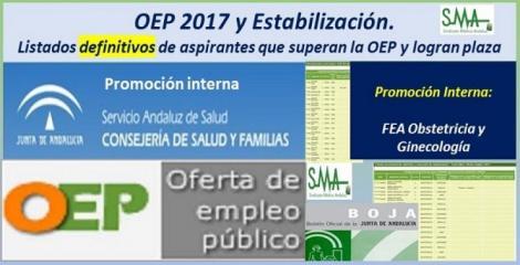 OEP 2017-Estabilización. Listados definitivos de personas aspirantes que superan el concurso-oposición y logran plaza, de FEA Obstetricia y Ginecología, promoción interna.