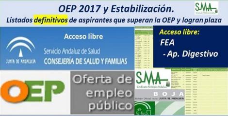OEP 2017-Estabilización. Listados definitivos de personas aspirantes que superan el concurso-oposición y logran plaza, de FEA Aparato Digestivo, acceso libre.