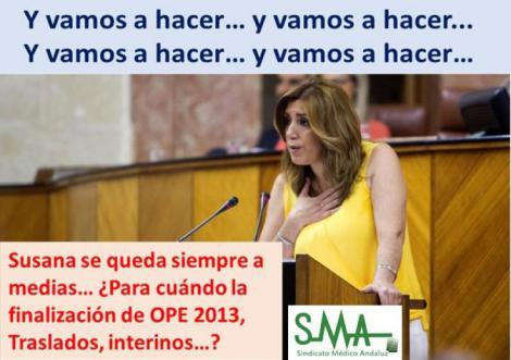 Susana Díaz anuncia nueva OPE sanitaria 2017... y seguimos esperando listados del 2013.