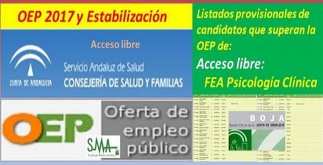 OEP 2017-Estabilización. Listado provisional de personas que superan el concurso-oposición de FEA Psicología Clínica (acceso libre).