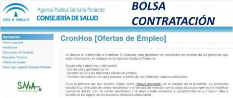 Actualización de la Bolsa de Contratación de FE en diversas especialidades de la Agencia Sanitaria Poniente.