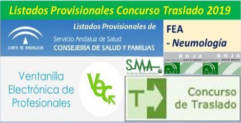 Publicada en el BOJA resolución del Concurso de Traslado 2019 con listados provisionales de FEA de Neumología.