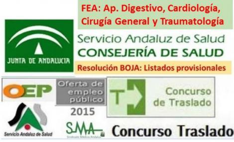 Publicada en Boja corrección de errores de Resolución de Traslado varias especialidades FEA. 15 días para alegaciones.