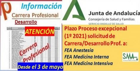 Anuncio del inicio del plazo de reapertura excepcional del 1º proceso 2021 para solicitar Carrera/Desarrollo profesional a determinadas especialidades de FEA, que tenían suspendida la toma de posesión.